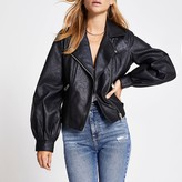 River Island Black faux leather balloon sleeve jacket