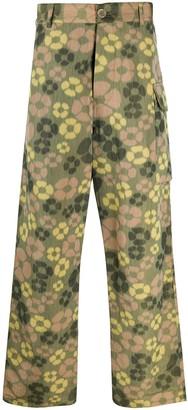 Marni floral print wide leg trousers