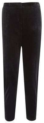 Dorothy Perkins Womens Petite Black Velvet Ankle Grazer Trousers, Black