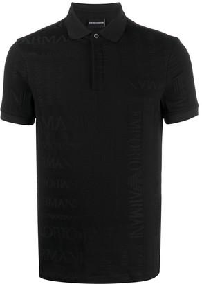 Emporio Armani embossed-logo polo shirt