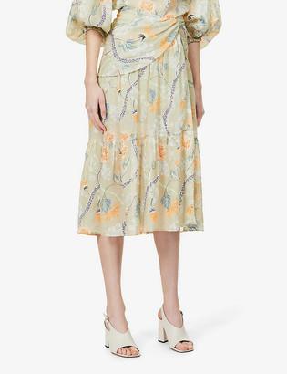 Chloé Floral-print high-waist ramie midi skirt
