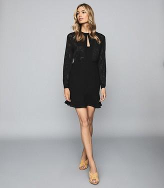 Reiss PIPPA BURNOUT DETAIL MINI DRESS Black