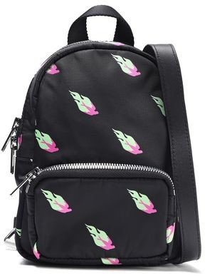 McQ Leather-trimmed Printed Shell Backpack