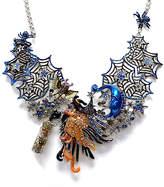 Kirks Folly Women's Necklaces SILVERTONE - Orange & Silvertone Spiderweb Witch Statement Necklace