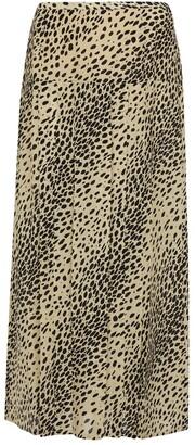 Rixo Nancy animal-print silk midi skirt