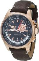 Caterpillar CAT World Timer Multifunction GMT Men's Date Watch Rose Gold Brown Leather Strap WT19535129