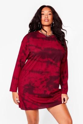 Nasty Gal Womens Tie Dye For You Plus Tee Dress - Burgundy