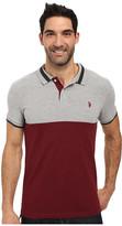 U.S. Polo Assn. Short Sleeve Slim Fit Color Blocked Pique Polo Shirt