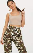 PrettyLittleThing Stone Slinky Scoop Neck Crop Top