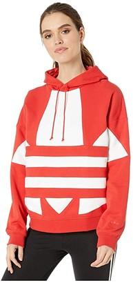adidas Large Logo Hoodie (Lush Red/White) Women's Clothing