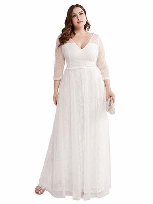 Ever Pretty Ever-Pretty Women's V-Neck 3/4 Sleeve Lace Floor Length A Line Elegant Plus Size Wedding Party Dress White 14UK