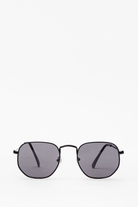 Nasty Gal Womens Steel the Show Rounded Metal Sunglasses - Black