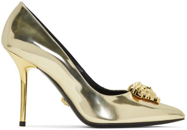 Versace Gold Palazzo Pumps