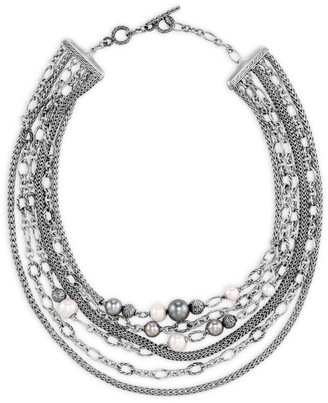 John Hardy Chain Classic Sterling Silver, 7-11MM Freshwater Pearl & 8-12MM Tahitian Pearl Collar Necklace