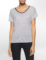 Calvin Klein Stripe V-Neck Cuffed Short Sleeve Top