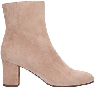 L'Autre Chose High Heels Ankle Boots In Powder Suede