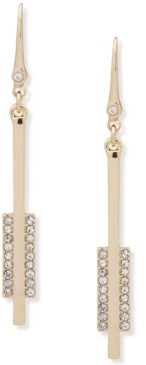 DKNY Gold-Tone Pave Bar Linear Drop Earrings