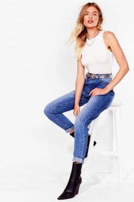 Nasty Gal Womens Fade It till You Make It High-Waisted Mom Jeans - Blue - 6, Blue