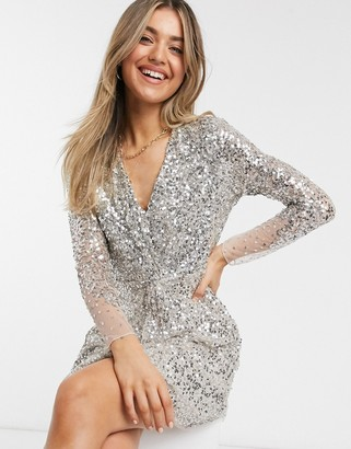 French Connection embellished v-neck mini dress in gray