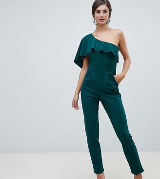 City Goddess Tall one sleeve wide leg jumpsuit-Green