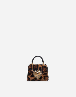 Dolce & Gabbana Devotion Micro Bag In Leopard-Print Pony Hair