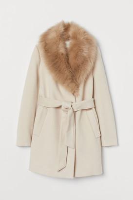 H&M Faux fur-collared coat