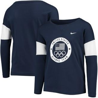 Nike Girls Youth Navy Team USA Cotton Long Sleeve T-Shirt