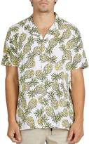 Barney Cools Pineapple Print Slim Fit Button-Down Shirt