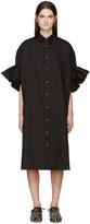 Junya Watanabe Black Ruffled Linen Shirt Dress