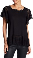 Anna Sui Knit Lace Flutter Sleeve Peplum Top