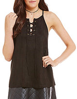 Soprano Lace-Up Faux Suede Tank