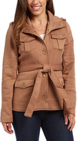 Camel Belted Button-Front Jacket