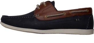 Onfire Mens Leather Boat Shoes Navy/Tan
