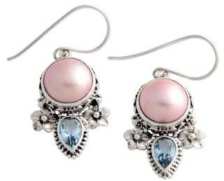 Novica Handmade Sterling Silver Love Pearl and Topaz Earrings