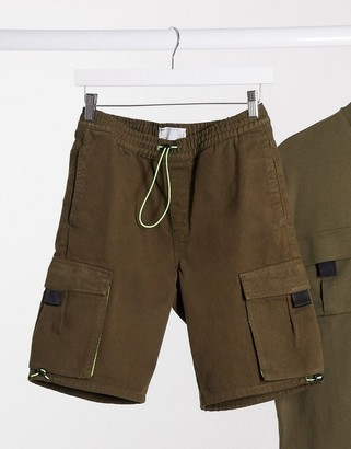 ASOS DESIGN co-ord denim shorts in khaki with mesh and tech details