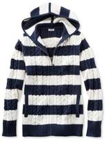 L.L. Bean Double L Mixed Cable Sweater, Zip-Front Hoodie Stripe