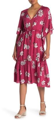 Love Stitch Floral Drawstring Waist Midi Dress