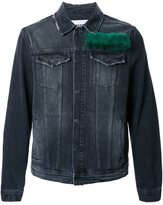 MSGM fur panel denim jacket - men - Cotton - 48