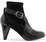 Sonia Rykiel Textured Patent-Leather And Suede Boots