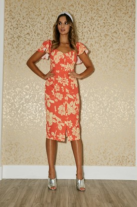 Paper Dolls Carson Warm Orange Floral-Print Sweetheart Midi Dress