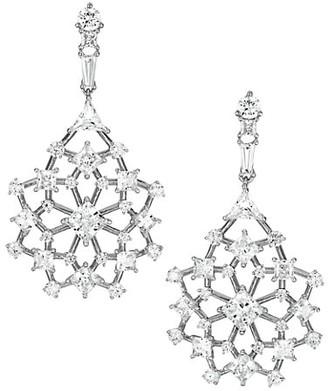 Adriana Orsini Silvertone Cubic Zirconia Cluster Lace Drop Earrings