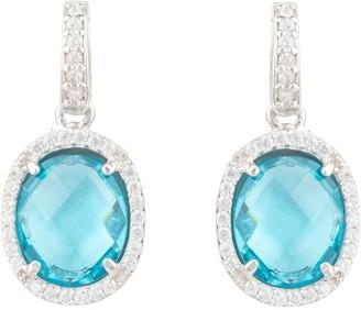 Latelita Beatrice Oval Gemstone Drop Earrings Silver Blue Topaz Hydro