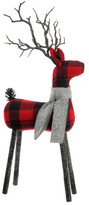 RAZ IMPORTS Plaid Deer with Light Grey Scarf