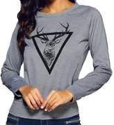 CFD Womens Crewneck Elk Floral Long Sleeve Shirt Top Blouses L