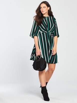 Very Stripe Tie Front Dress - Printed