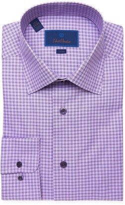 David Donahue Trim Fit Windowpane Check Dress Shirt