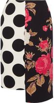 MSGM Asymmetric Printed Crepe Skirt - Black