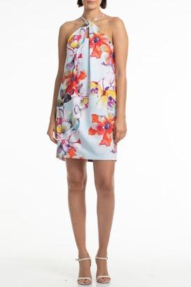 Trina Turk Bold Waterfall Smoothie Halter Dress