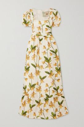 Agua Bendita Pomelo Floral-print Linen Maxi Dress - Cream