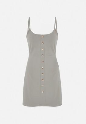 Missguided Stone Tortoiseshell Button Through Mini Dress